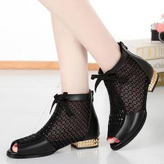 Femmes Vrai cuir Talon bas Bottes avec Autres chaussures