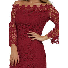 Lace 3/4 Sleeves Bodycon Knee Length Casual/Party Dresses