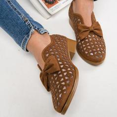 Femmes PU Talon plat Chaussures plates avec Bowknot Ouvertes chaussures