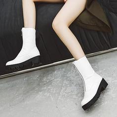 Жіночі Шкіра Квадратні підбори Чоботи середньої довжини з Рюш Блискавка взуття