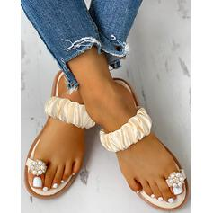 Women's Cloth Flat Heel Sandals Peep Toe Slippers With Imitation Pearl shoes