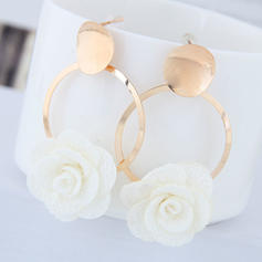 Flower Shaped Alloy Fabric With flower Women's Fashion Earrings