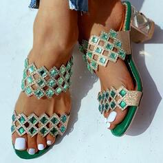 Women's PU Chunky Heel Slippers With Rhinestone shoes