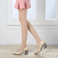 De mujer Piel brillante Tacón ancho Salón Cerrados Mary Jane con Perlas de imitación Hebilla Tacones con joya zapatos