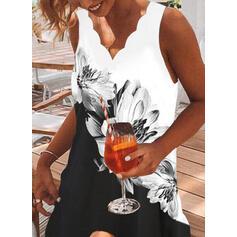 Imprimeu/Floral/Renkli klişe Kolsuz Shift Elbiseleri Deasupra Genunchiului gündelik/Tatil tank Elbiseler