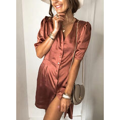 Solid 1/2 Sleeves/Puff Sleeves Sheath Above Knee Casual/Elegant Dresses
