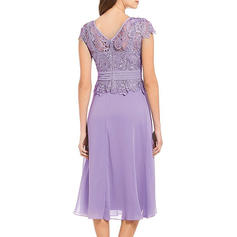 Lace Round Neck Midi A-line Dress