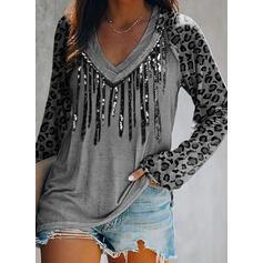 Leopard pailletter V-hals Lange ærmer T-shirts