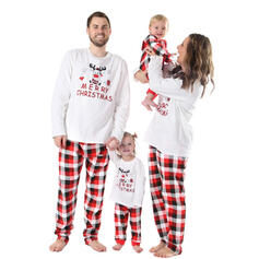 Rensdyr Plaid Letter Print Familie Matchende Jul Pyjamas