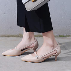 Women's Leatherette Low Heel Closed Toe With Hollow-out shoes