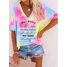 Print Tie Dye Letter V-hals 1/2 Mouwen T-shirts