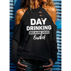 Print Figure Cold Shoulder Long Sleeves Casual Sexy Blouses
