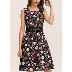 Nadrukowana/Kwiatowy Bez rękawów W kształcie litery A Długośc do kolan Casual Sukienki