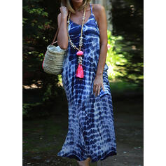 Print Sleeveless Shift Casual/Vacation Maxi Dresses