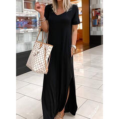 Solid Short Sleeves Shift Little Black/Casual/Vacation Maxi Dresses