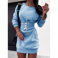 Sólido Manga Comprida Bodycon Acima do Joelho Casual Sweatshirt Vestidos