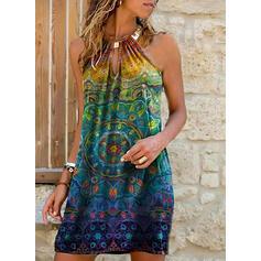 Εκτύπωση Αμάνικο Αμάνικο Πάνω Από Το Γόνατο Μποέμ/Διακοπές Сукні