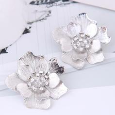 Квіткова форма Сплав Стрази з Сіяючі камені Сережки
