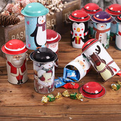 Merry Christmas Snowman Reindeer Santa Metal Candy Jars