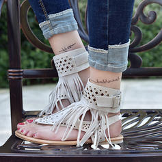 Femmes Suède Talon plat Sandales Chaussures plates avec Tassel chaussures