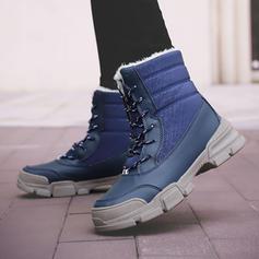 Donna Tela PU Tacco basso Stivali con Allacciato scarpe