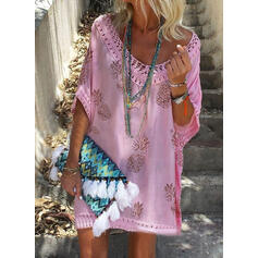 Print 3/4 Sleeves Shift Above Knee Casual/Vacation Tunic Dresses