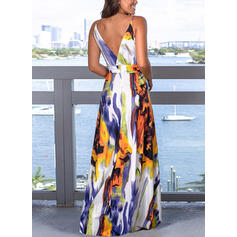 Print/Floral Sleeveless A-line Sexy/Party/Vacation Maxi Dresses
