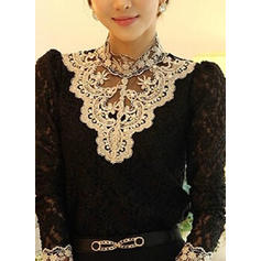 Embroidery High Neck Long Sleeves Casual Elegant Blouses