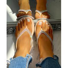 Női PVC Lapos sarok Szandál Peep Toe Papucs -Val Hegyikristály cipő