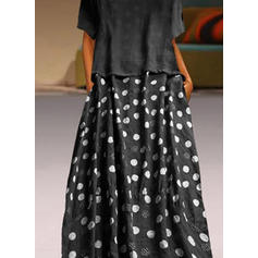 Groszki Krótkie rękawy Koktajlowa Casual Maxi Sukienki