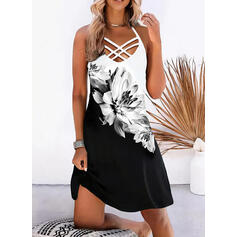 Print/Floral/Color Block Sleeveless Shift Knee Length Casual/Vacation Dresses