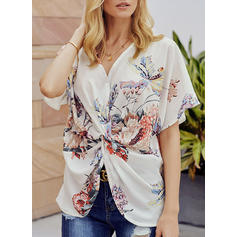 Print V Neck Short Sleeves Casual Blouses