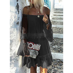 Lace/Solid Long Sleeves Shift Knee Length Little Black/Casual/Vacation Dresses