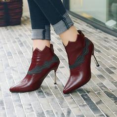 Femmes PU Talon stiletto Escarpins Bout fermé Bottines avec Semelle chaussures