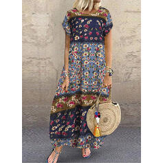 Lace/Print/Floral Short Sleeves Shift Casual/Vacation Maxi Dresses