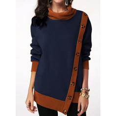 Color Block High Neck Long Sleeves Button Up Casual Knit Blouses