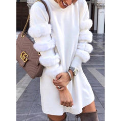 Solid Long Sleeves Shift Above Knee Casual/Elegant Dresses
