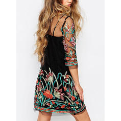 Embroidery/Floral 3/4 Sleeves Shift Above Knee Casual Dresses