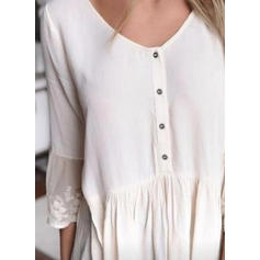 Solide Ronde Hals 3/4 Mouwen Casual Blouses