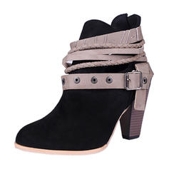 Women's Suede Chunky Heel Closed Toe Boots Ankle Boots With Rivet Buckle shoes