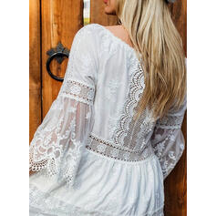 Lace/Solid 3/4 Sleeves/Flare Sleeves A-line Above Knee Elegant Skater Dresses