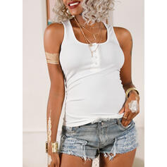Solid V-Neck Sleeveless Button Up Casual Basic Knit Tank Tops
