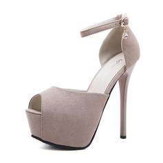 Női Szarvasbőr Tűsarok Magassarkú Emelvény Peep Toe -Val Csat cipő