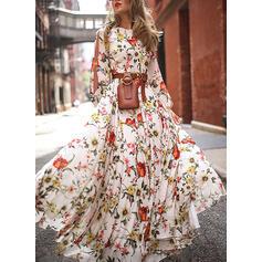 Nadrukowana/Kwiatowy Długie rękawy/Odkryte ramię W kształcie litery A Łyżwiaż Casual Maxi Sukienki