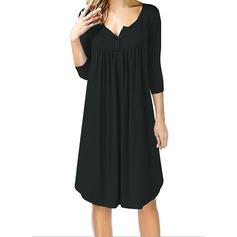 Couleur Unie Manches 3/4 Droite Longueur Genou Petites Robes Noires/Décontractée Robes