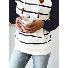 Color Block Striped Long Sleeves Hoodie