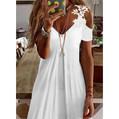 Solid Lace Short Sleeves Cold Shoulder Sleeve Shift Above Knee Casual Dresses