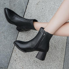 Women's PU Chunky Heel Pumps Boots With Zipper shoes
