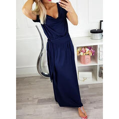 Solid Short Sleeves Shift Casual Maxi Dresses