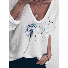 Trykk V-hals Lange ermer Casual T-skjorter